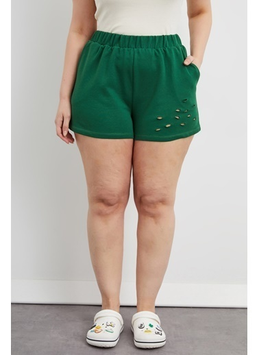 Curly Yeşil Yırtık Detaylı Şort Yeşil